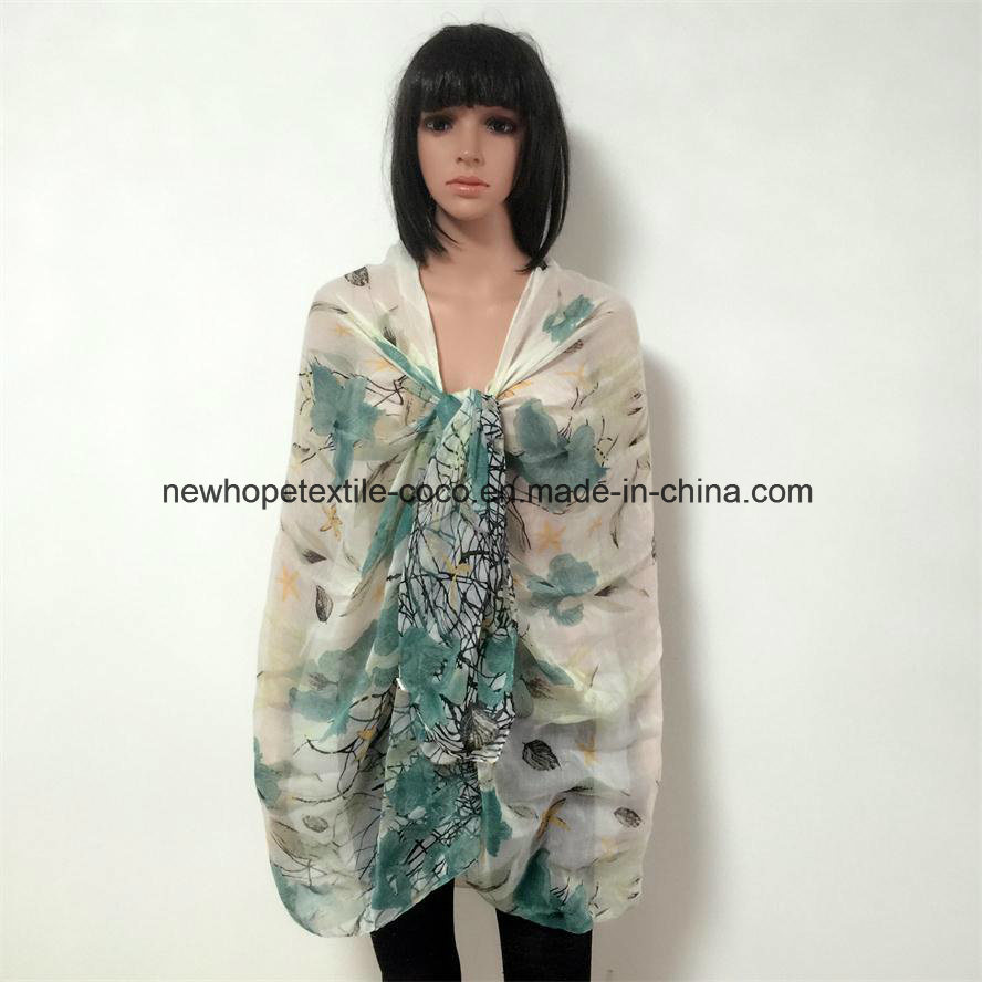 100% Polyester, Voile Material Multifunctional Scarf with Flowers Printing