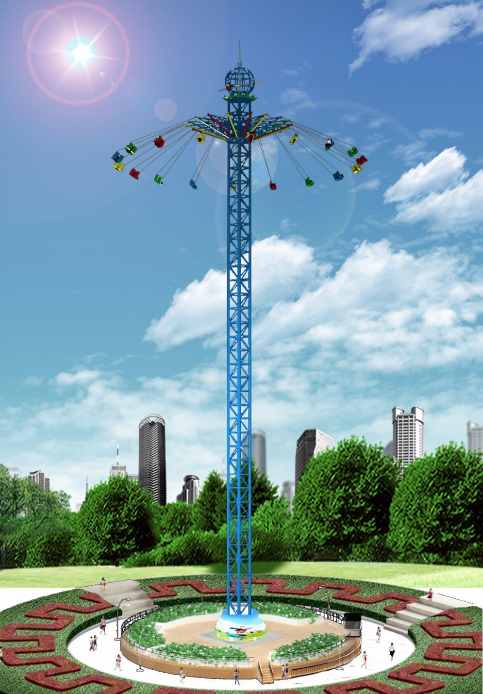 Tourist Attraction Carnival Rides Flying to Sky Tower
