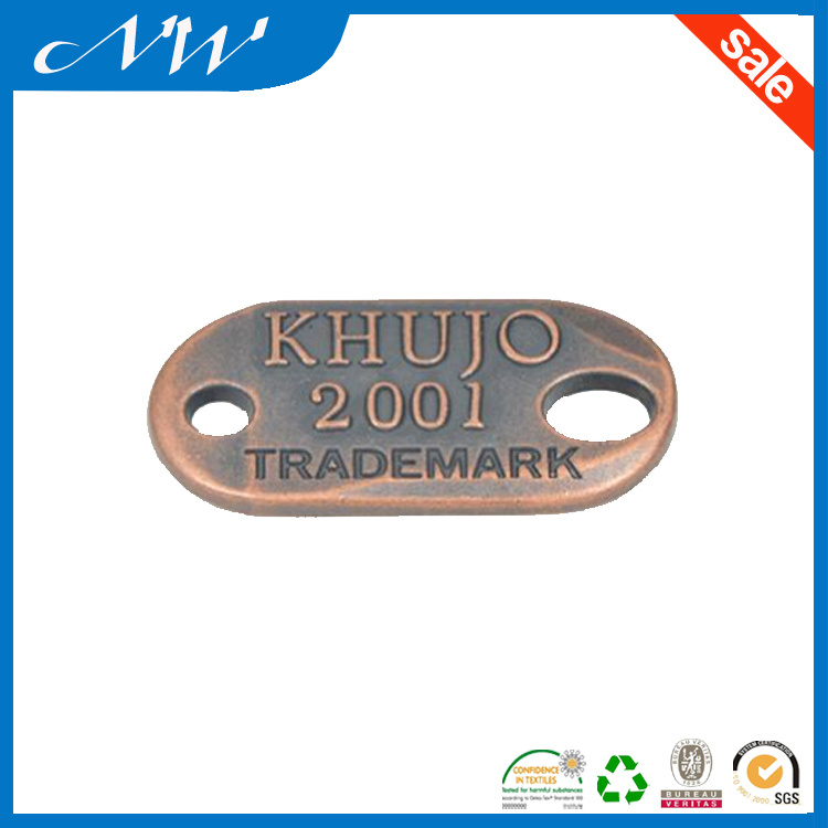 Various 2 Hole Plated Metal Badge Alloy Label