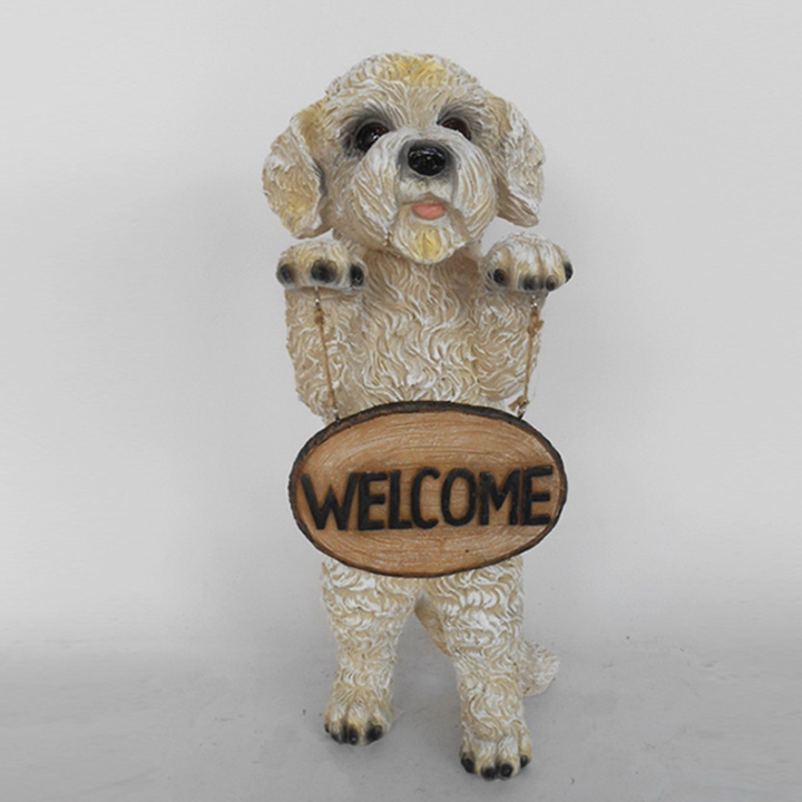 Polyresin Animal Figurine Dog with Welcome Sign Garden Statue