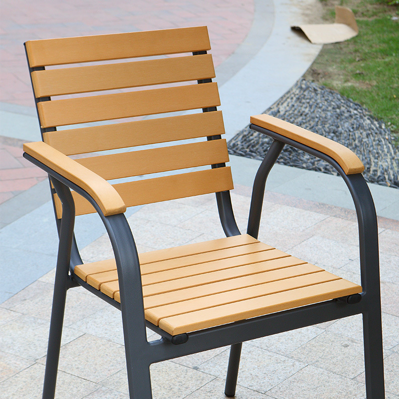Patio Gaden Furiture Aluminum Plastic Wood Table Arm Chair with Teak Color (J805)