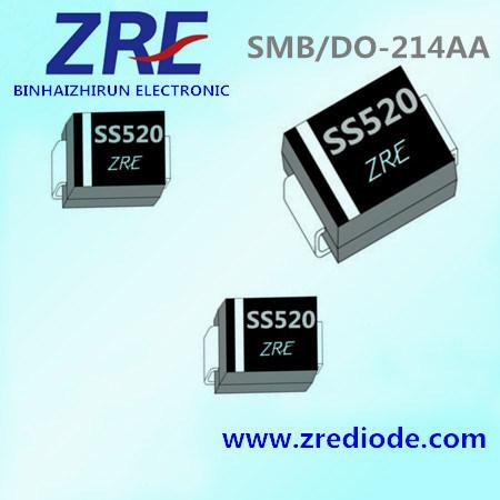 5A Schottky Barrier Rectifier Diode Ss52 Thru Ss520 SMB-Do/214AA Package