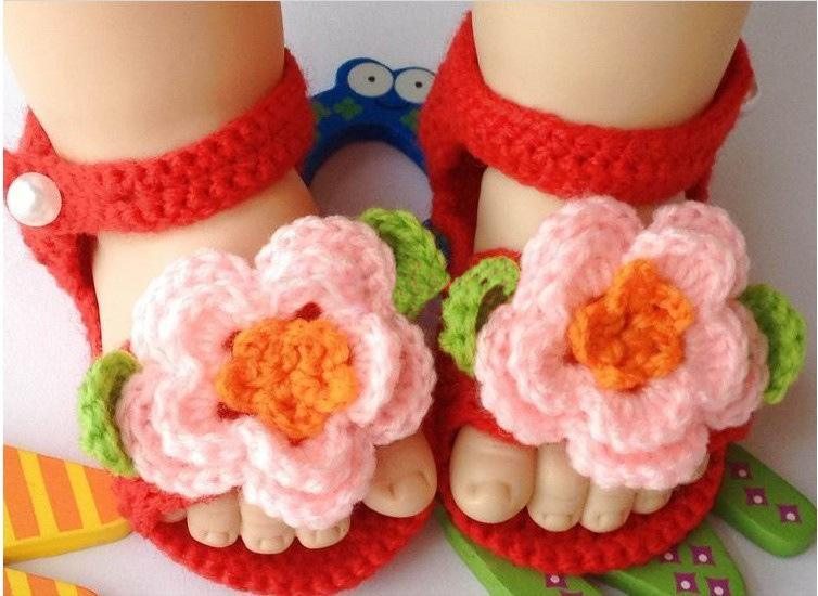 Hand Crochet Baby Knitted Footwear Toddler Shoes 0-12m First Walkers