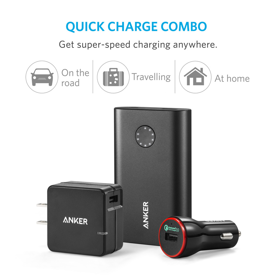 Anker Quick Charge Combo Bundle with USB Turbo Wall Charger, Protective Case and Accessories (3 Items) , Power Bank Black