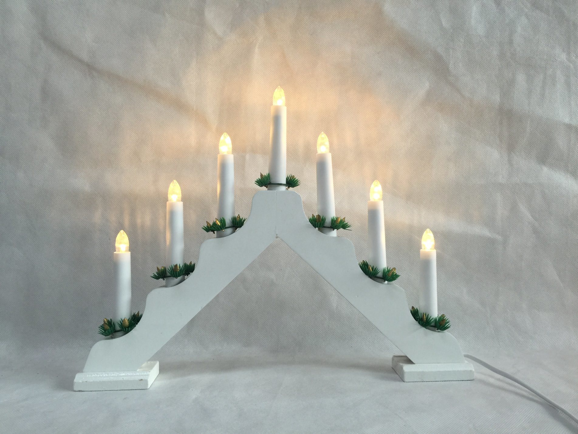Red or White Bridge Candle LED Lighting Christmas Decoration