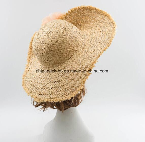Custom Beautiful Raffia Straw Sun Beach Visor Hat with Flower Decrate (CPA_90060)