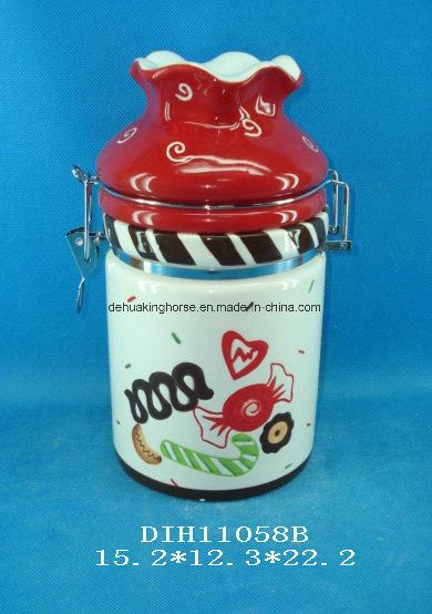 Hand-Painted Ceramic Airtight Canister