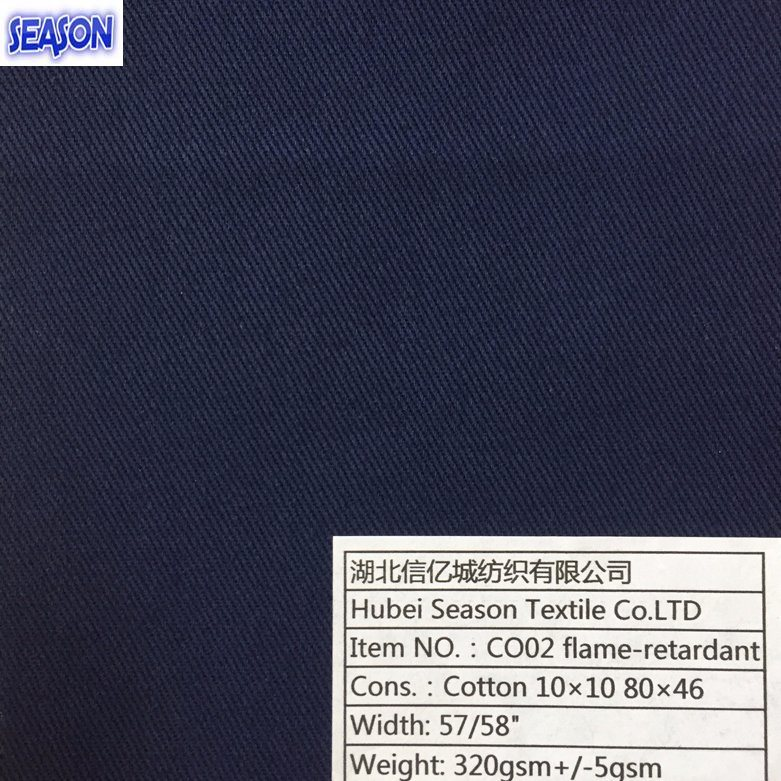 Cotton 10*10 80*46 320GSM Functional Fireproof Flame-Retardant Fabric Textile