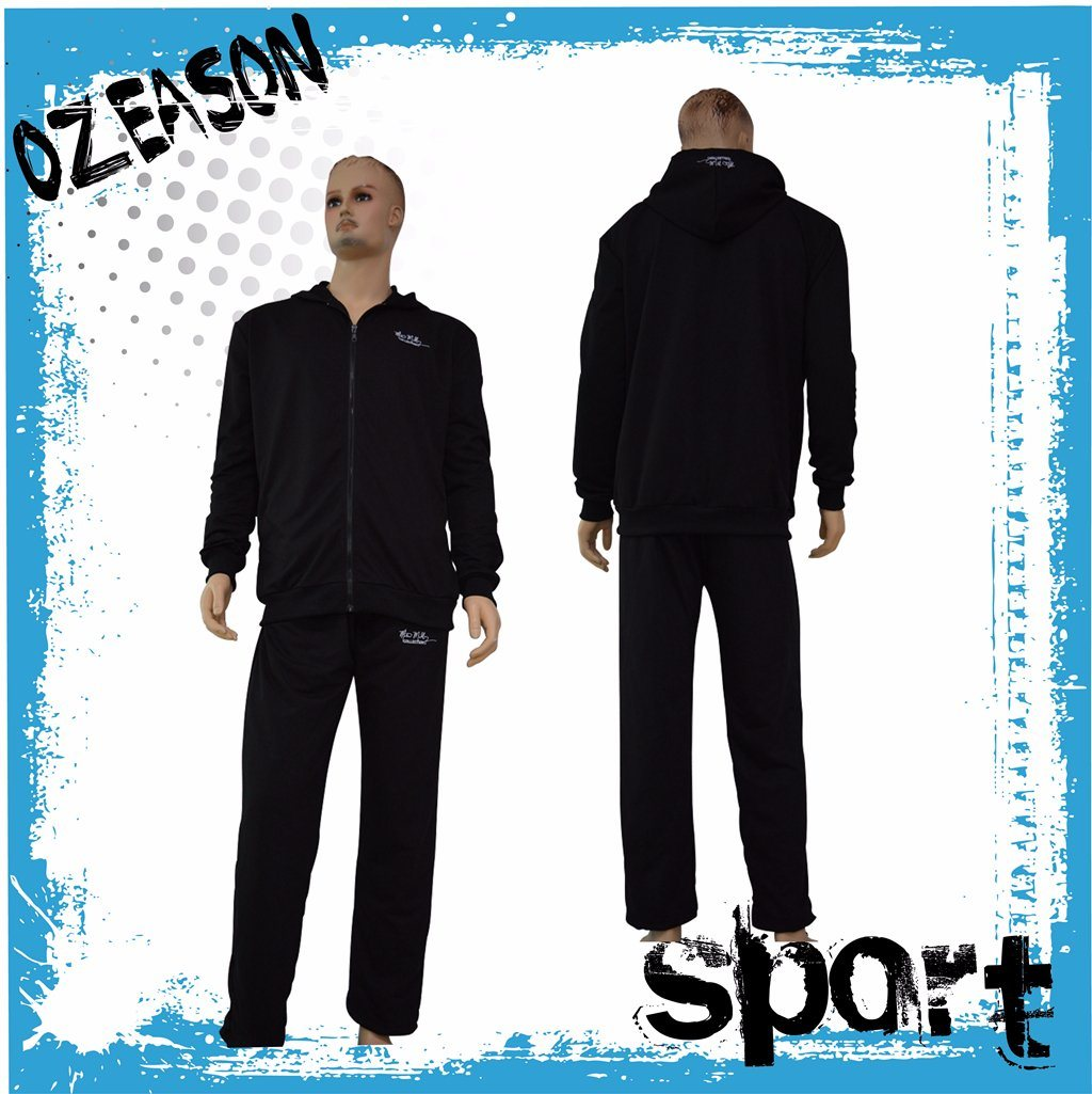 Factory OEM Plain Black Cotton Fitness Tracksuits for Winter (TJ017)