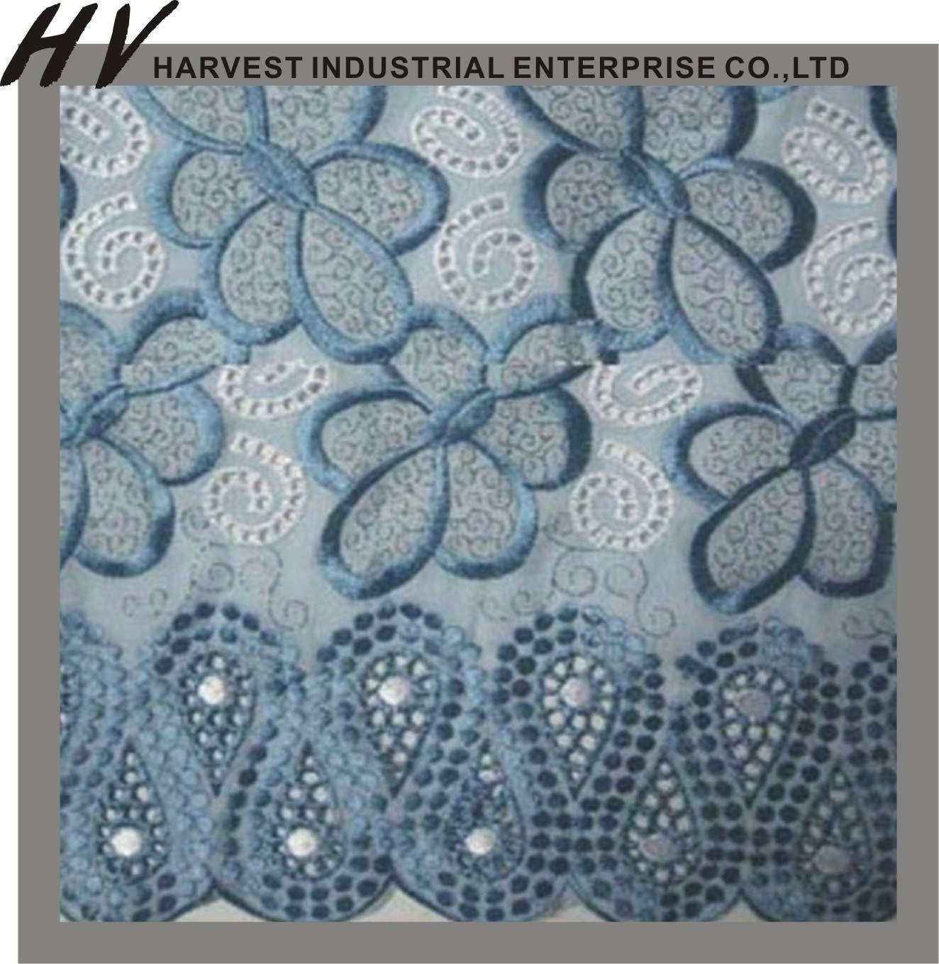 China cotton jacquard fabric with embroidery