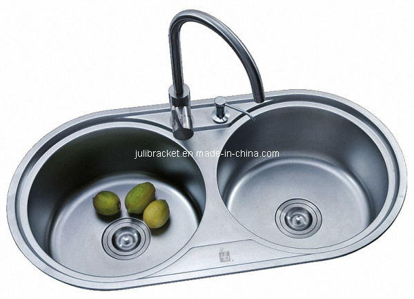 Round Double Bowl Stainless Steel Kitchen Sink (JL3005) - China Sink ...