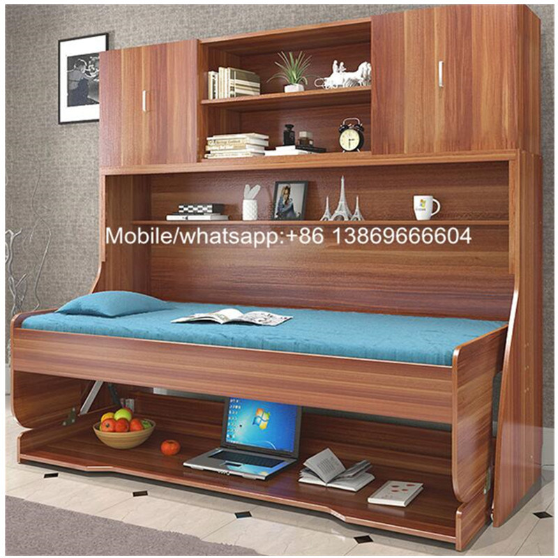 Hot Sale Modern Wooden Murphy Bed with Desk and Cabinet