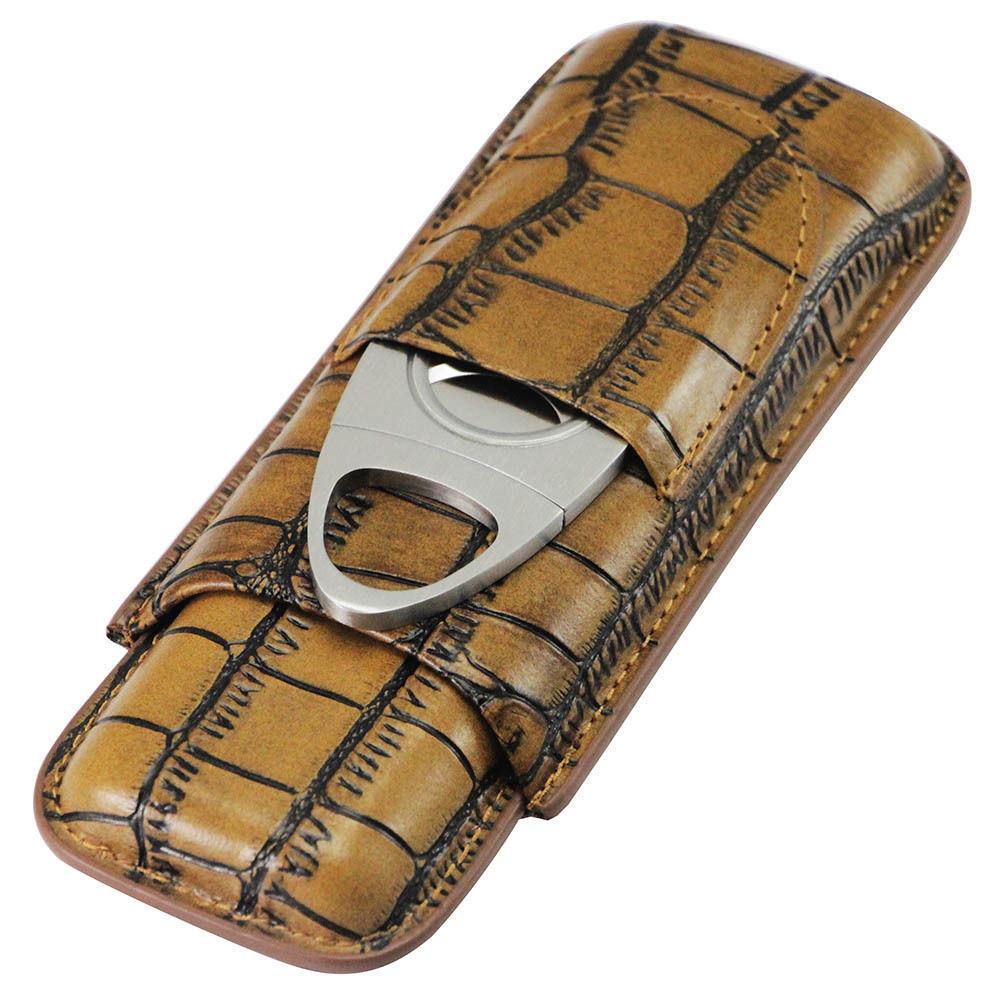 Cohiba Genuine Leather Brown 2 Tube Cigar Case Cutter (ES-EB-108)