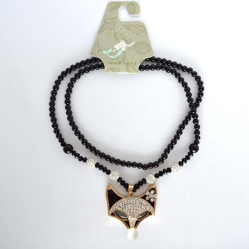 Shamballa Long Black Beads Opal Crystal Fox Pendant Necklace
