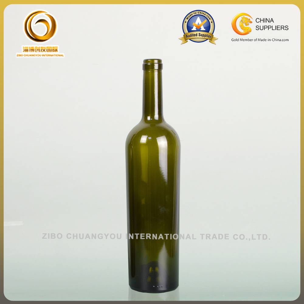 750ml Green Glass Wine Bottle with Cork (001)