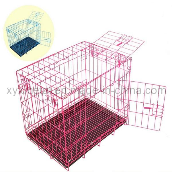Folding Double Doors Metal Dog Rabbit Pet Cage
