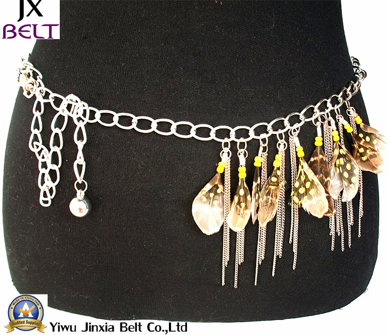 Fashion Lady Feather Skinny Nickel Chain Belts