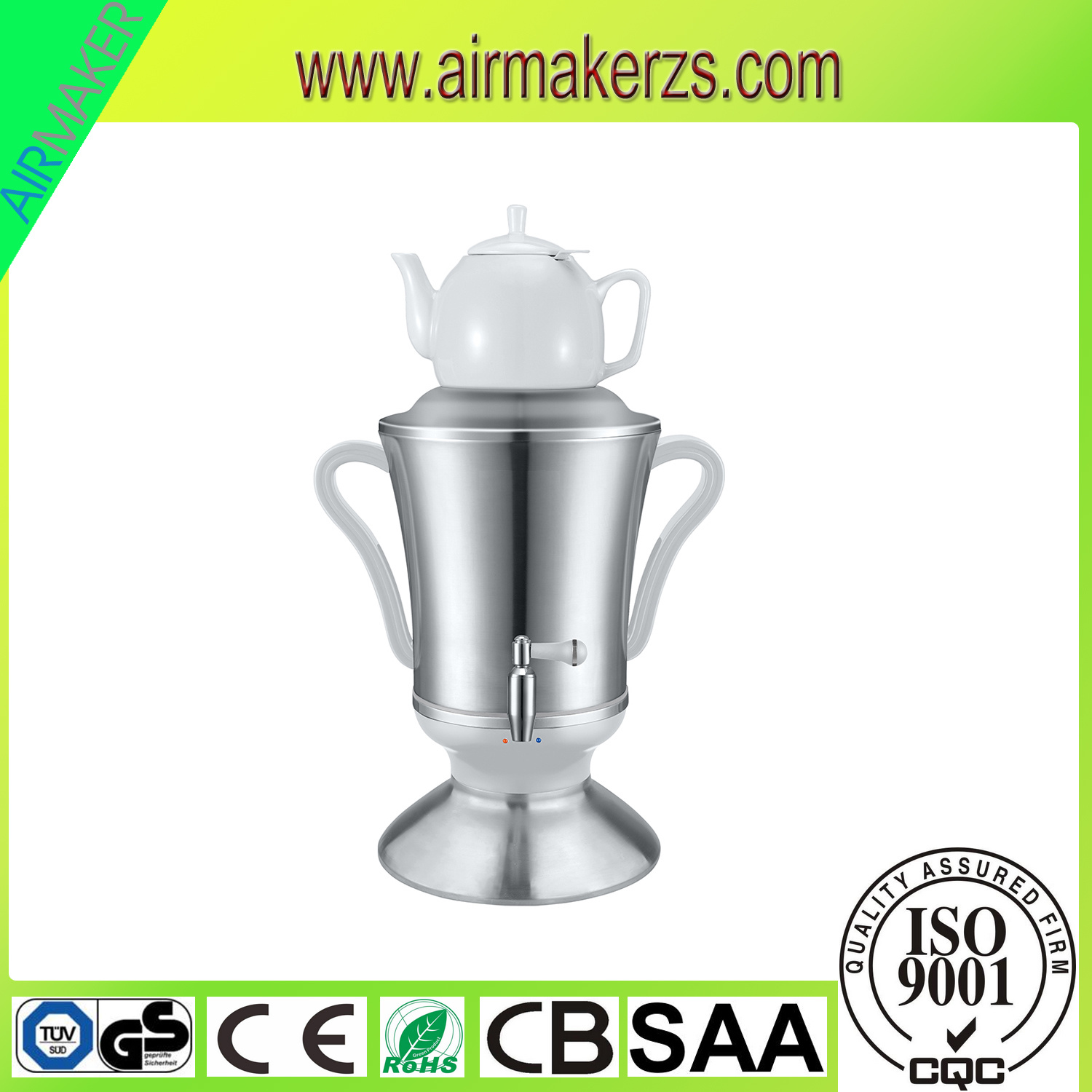 Modern Stainless Steel Russian Samovar with Glass Teapot