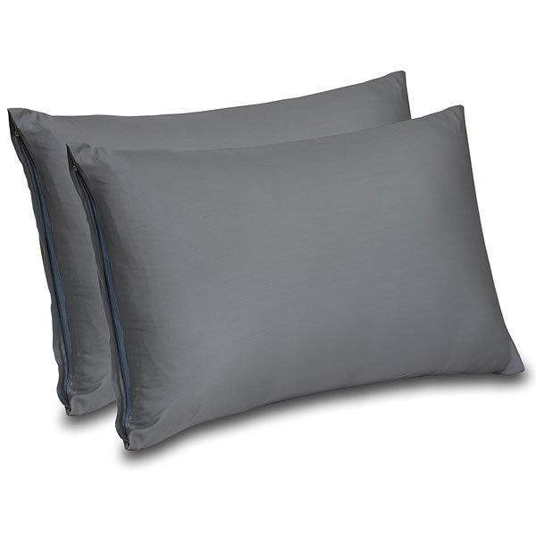 300 Thread Count Cotton Sateen Zippered Pillow Cases for Maximum Softness, Elegant Double Hemmed Stitched Pillow Encasement