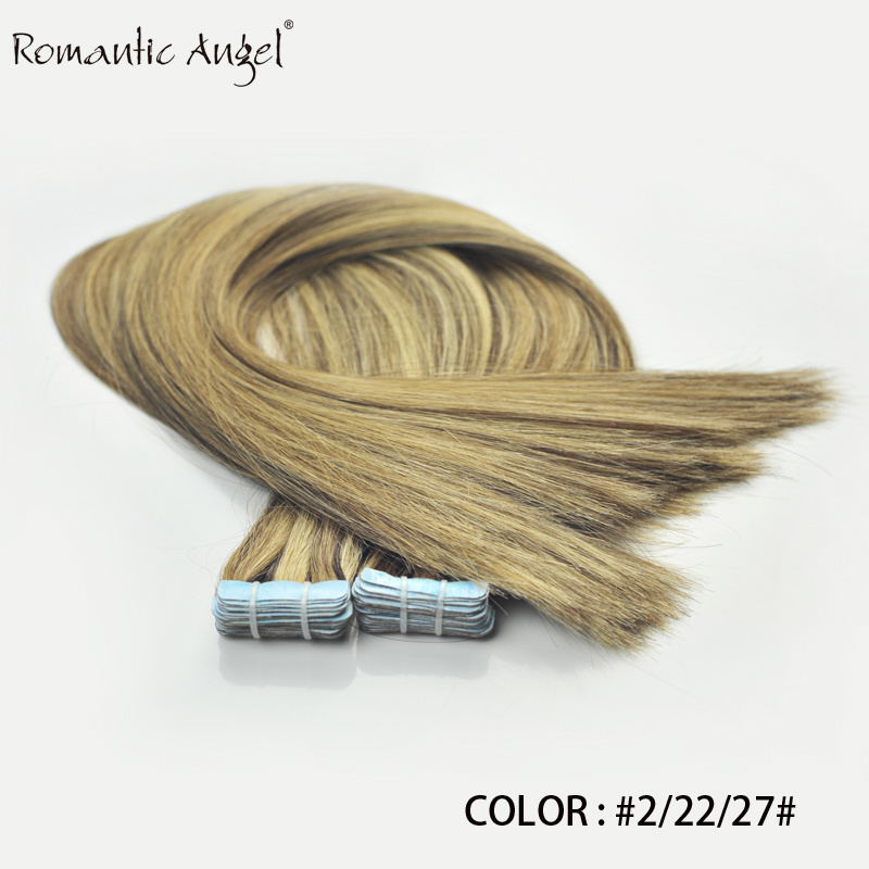 "40PCS 100g 18""/24"" 100% Classy Remy Indian Human Hair Skin Weft Hair Extensions Double-Sided Tape Blue Liner Seamless Invisible"