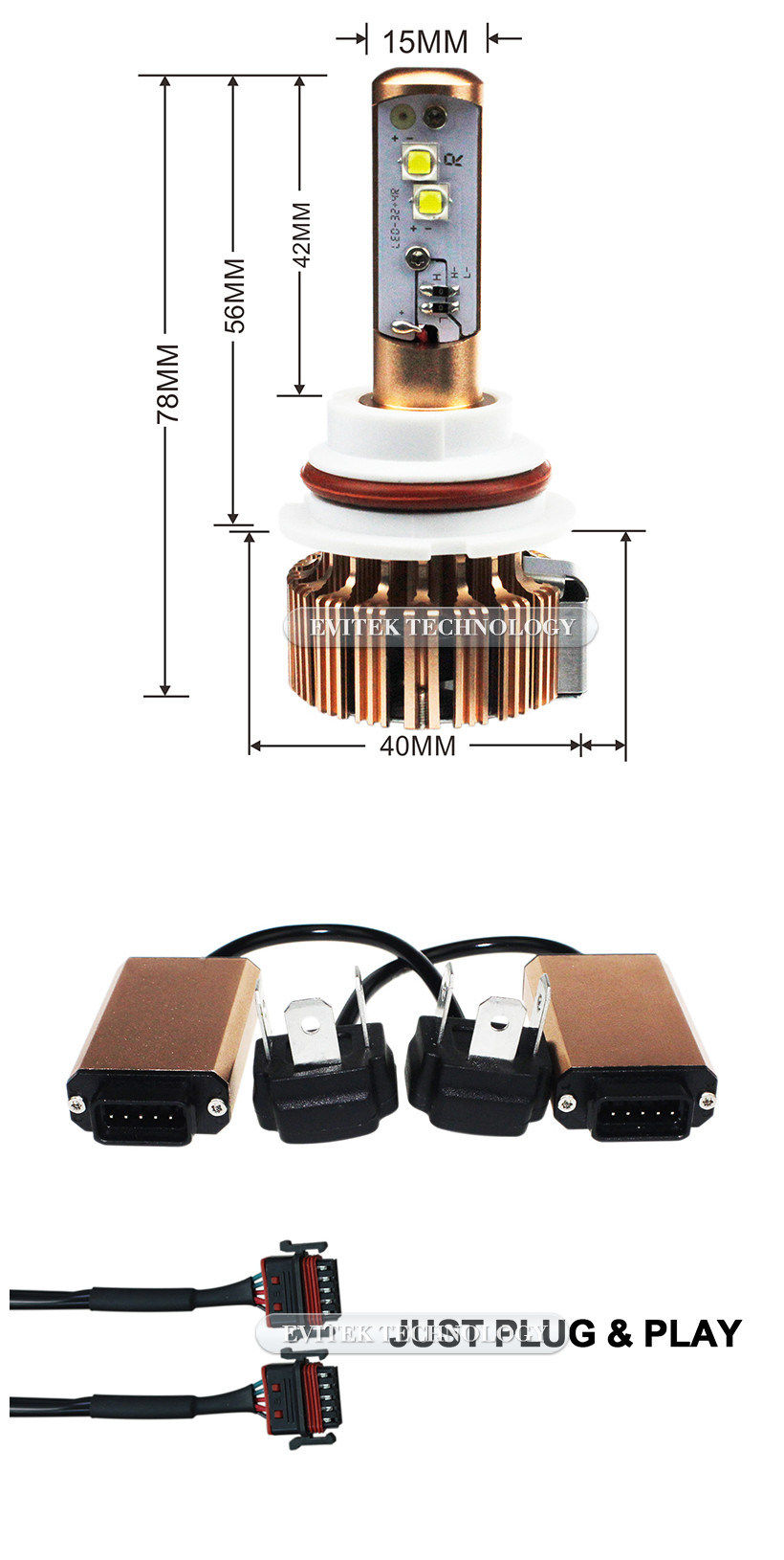 2017 Hot Sell Auto Headlight 40W 3600lm 9004/9007 H4 H13 H11 H7 9005 CREE Car LED Headlight Kit