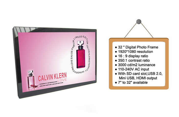 Wide Screen 32 Inch Large Size Digital Photo Frame with Remote Control