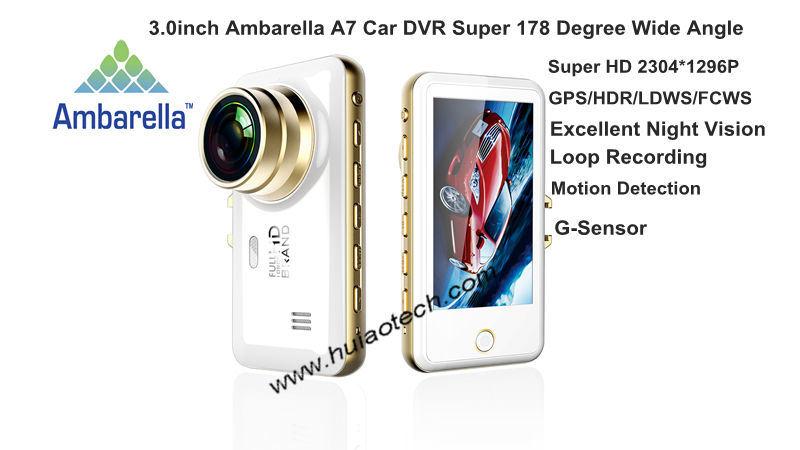 """3.0"""" Ambrella A7la50 GPS Tracking Car DVR with Hdr; WDR; Fcws; Ldws; G-Sensor"""