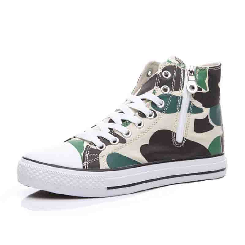 High Top Wholesale Cheap Breathable Camouflage Men′s Canvas Rubber Shoes