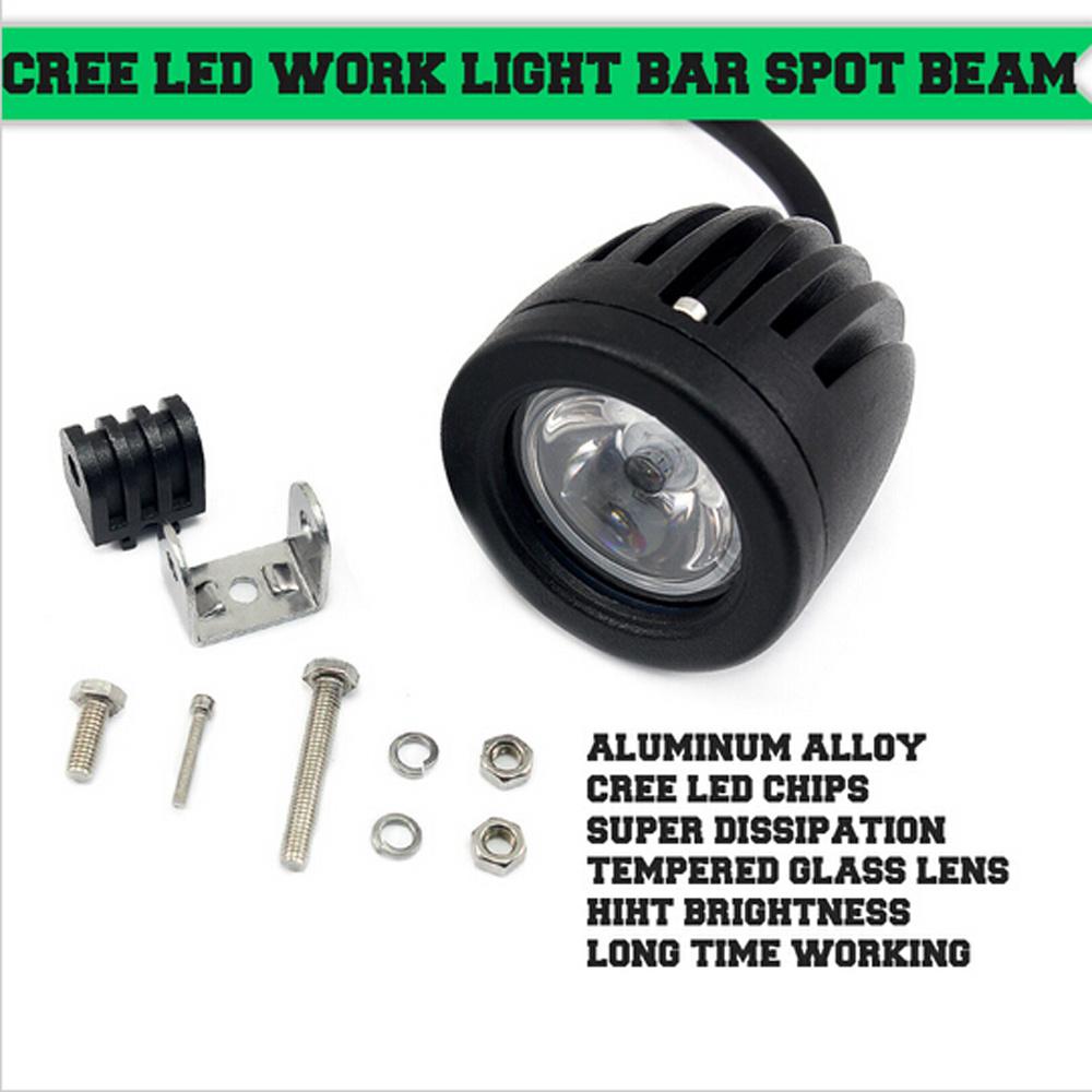 10W 1000lm Round CREE LED Work Light Spot Flood Beam