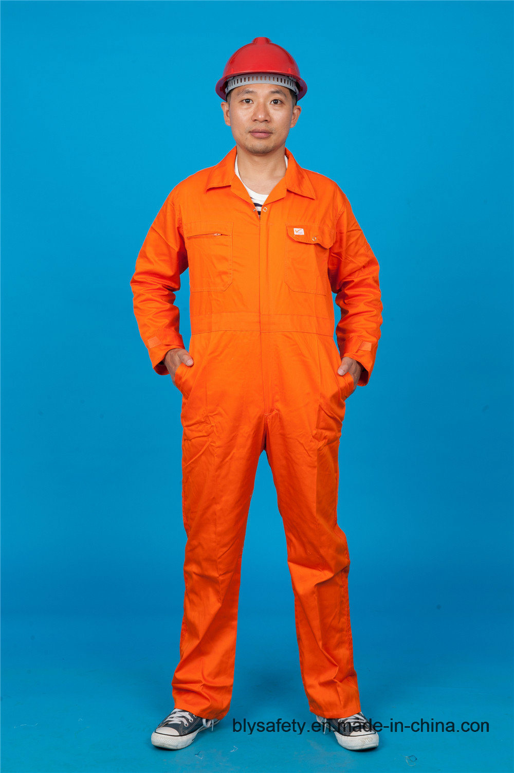 High Quality Safety Long Sleeve 65% Polyester 35%Cotton Cheap Workwear Coverall (BLY1022)