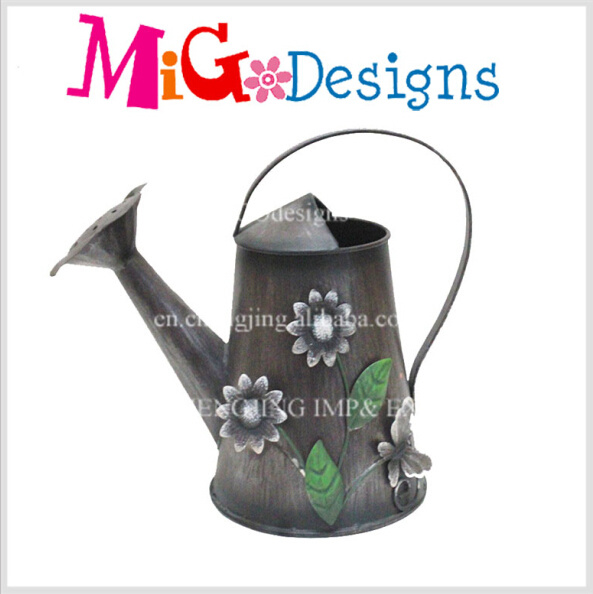 Metal Watering Can Flower Shaped Pot Outdoor Decoration