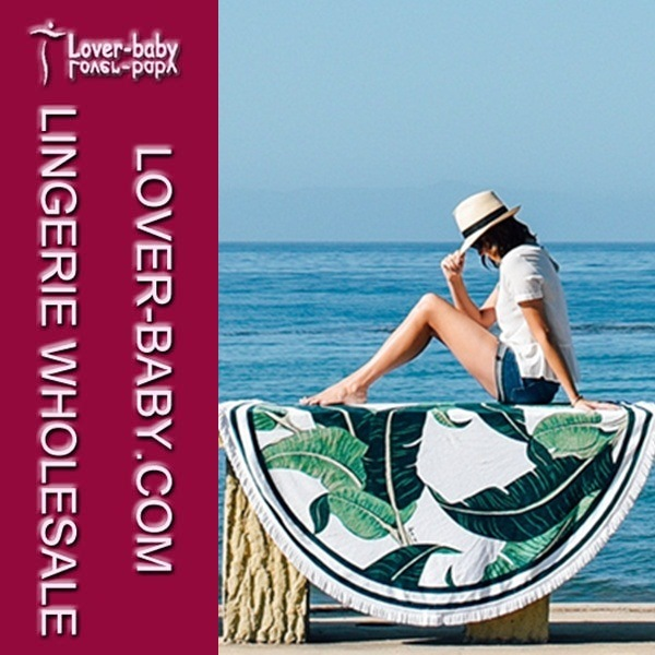 White Green Tassel Printed Beach Round Towel Throw (L38368)