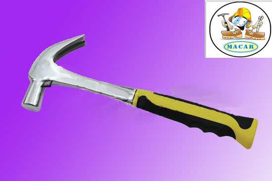 British Type Claw Hammer with Half Plasticcoated Handle