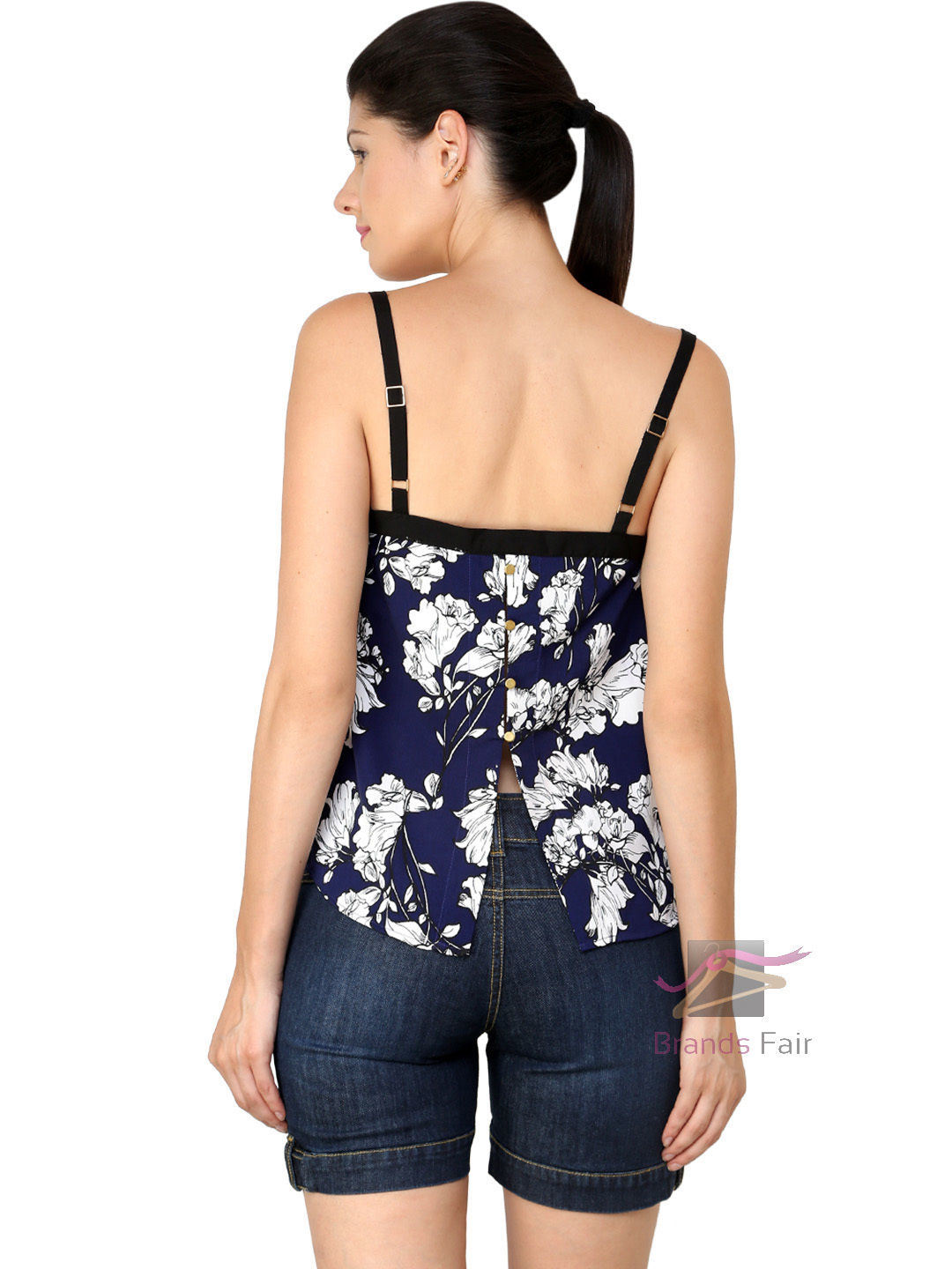 Sexy Ladies White Blue Cami Floral Sleeveless Tank Top (A452)