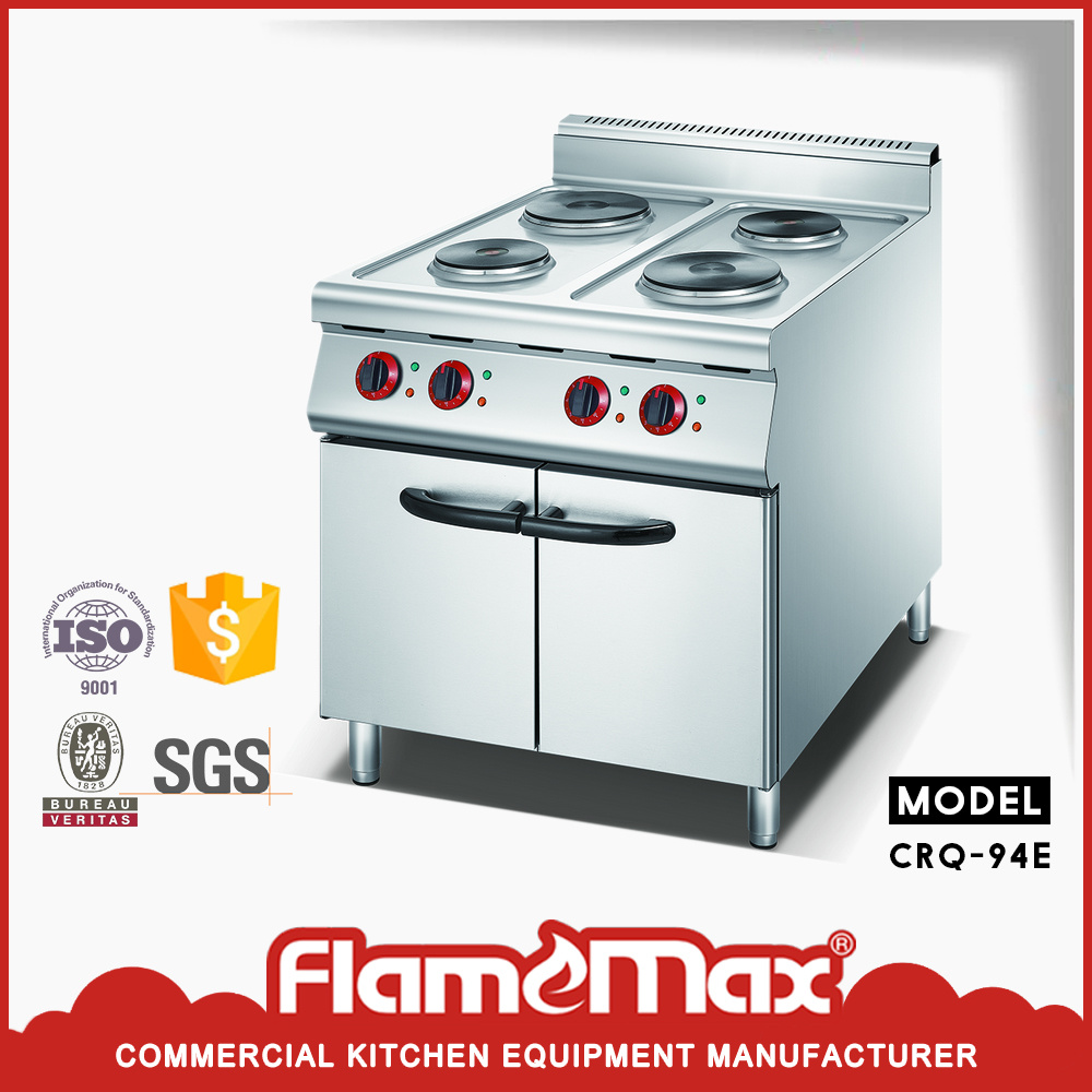 Deluxe Freestanding Gas Range with 4 Electric Round Hot Plate with Cabinet (CRQ-94)