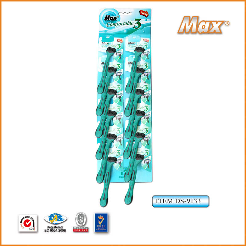 Good Quality Sharp Triple Stainless Steel Blade Disposable Razor (DS-9133)