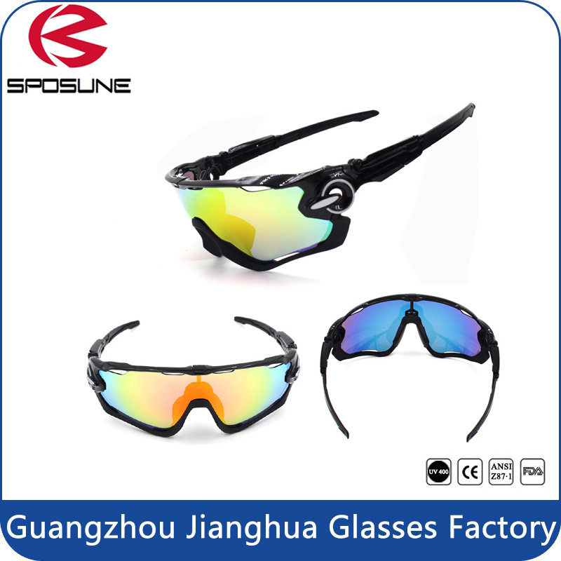 2015 Men′s Sport Full Shield Revo Lens Wrap Around UV Protective Cycling Sport Glasses