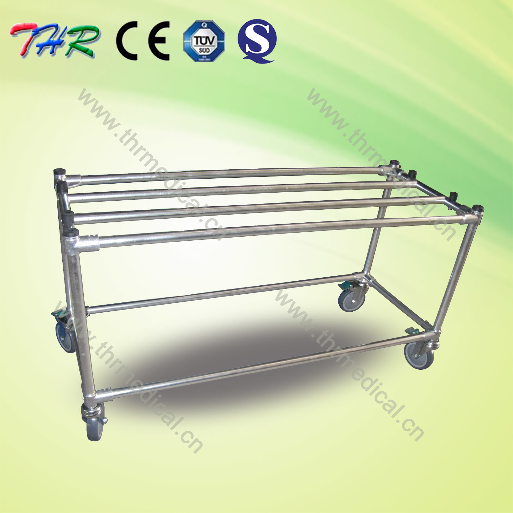 Aluminum Casket Trolley with Six Wheels