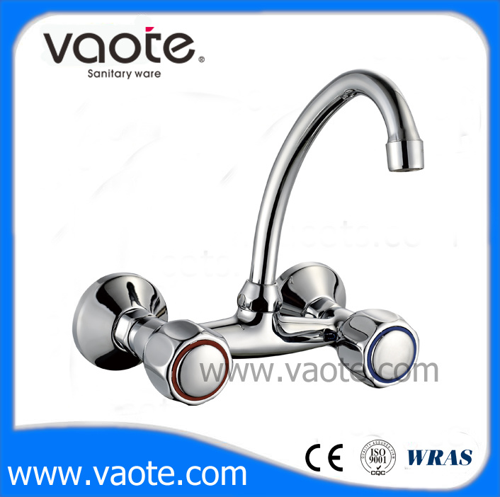 Double Handle Wall Mounted Kitchen Zinc Faucet (VT60202)