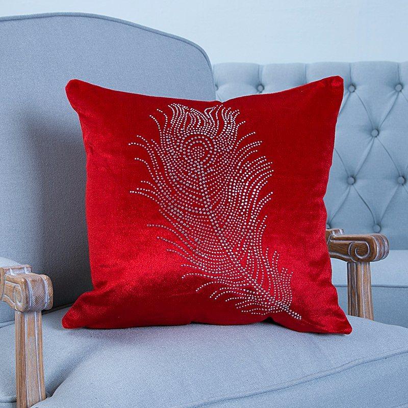 Diamond Ironing Decorative Cushion/Pillow with Feather Pattern (MX-028)