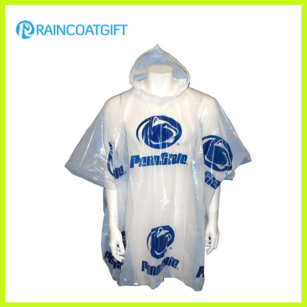 All Over Logo Printing Disposable PE Raincoat Rvc-001