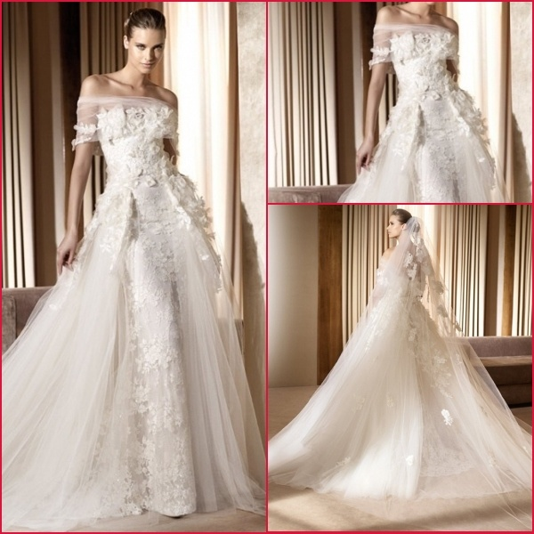 Wedding Dress Lace Flowers : Strapless white ivory lace flower wedding dress h photos