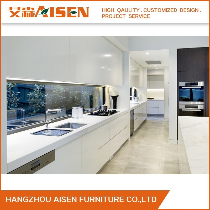 2018 Hot Online Modern Standard White Lacquer Kitchen Cabinets