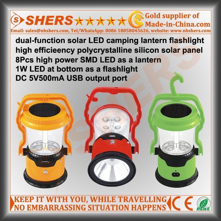 8 SMD LED Solar Light for Camping with 1W Flashlight (SH-1972B)