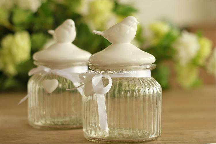 Ceramic Bird Lid Glass Storage Bottle (AM-15-01)