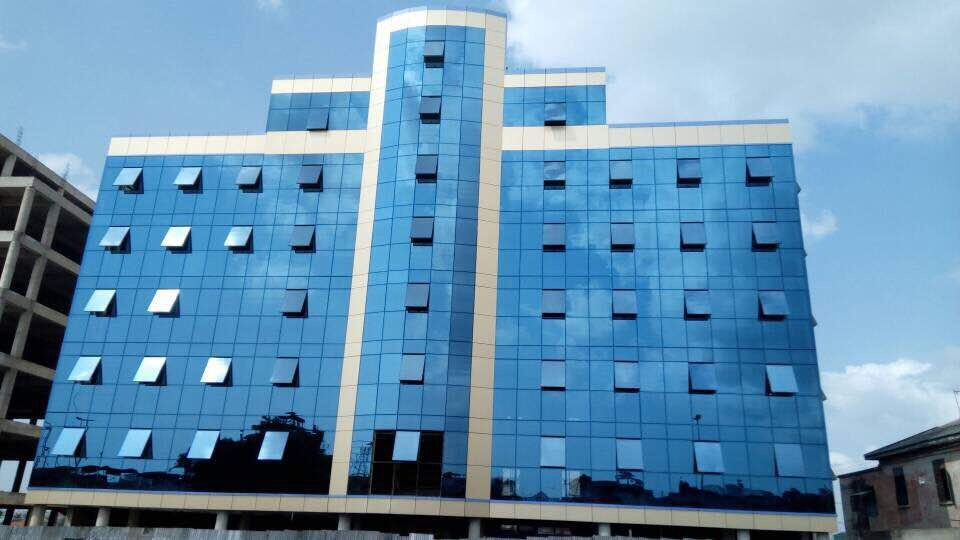 Ghana Invisible Frame Aluminum Structure Glass Curtain Wall