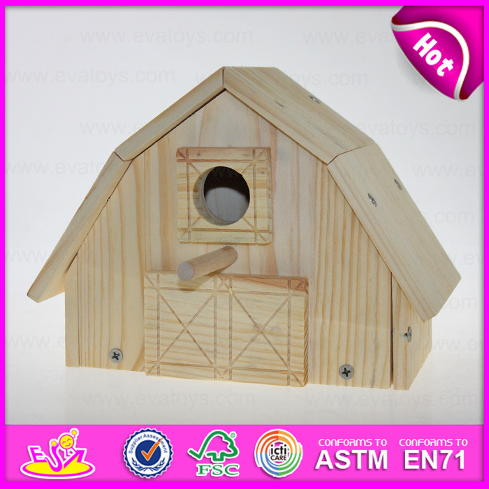 2015 Top New Natural Colour Wooden Bird House, Popular Wooden Bird House, Cheap Outdoor Hanging Wooden Birds House for Kit W06f012