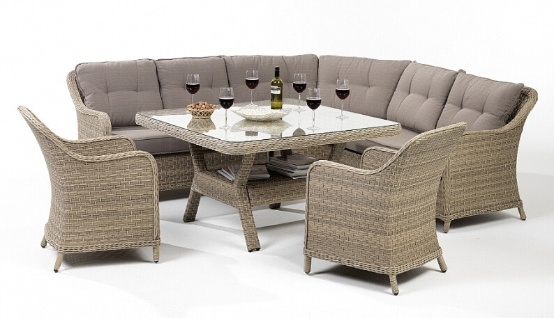 Sectional Dining Set : China rattan wicker garden patio outdoor sofa dining set