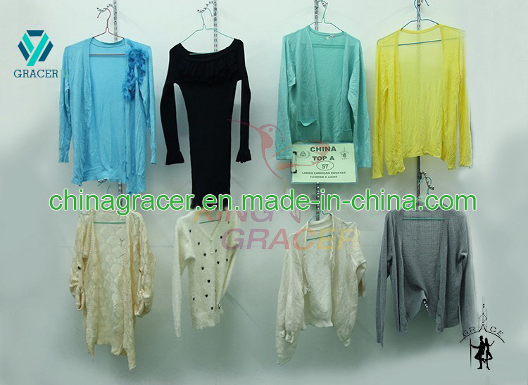 Ladies Cardigan Sweater Used Clothes Hot Sale in USA for Sale