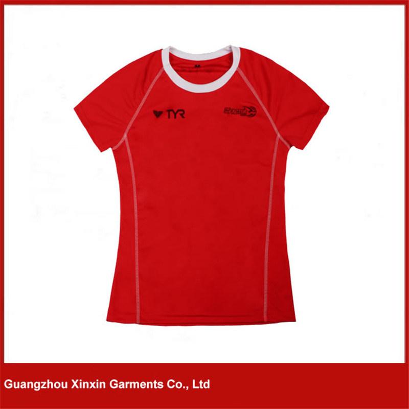 New Design 100% Polyester Plain Sport V Neck T Shirt for Men (R154)